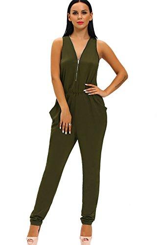 YALI Deep col en V manches poitrine avec fermeture éclair pantalon robe de mode M Vert