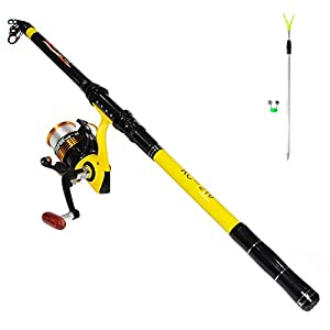 Richcat Fishing Poles and Reels Combo, Fishing Rod and Reel Kits for Adults Telescopic Fishing Rod Set Line Pre-spooled for Saltwaer Freshwater 6.9ft