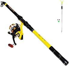 Richcat Fishing Poles and Reels Combo, Fishing Rod and Reel Kits for Adults Telescopic Fishing Rod Set Line Pre-spooled for Saltwaer Freshwater 7.9ft