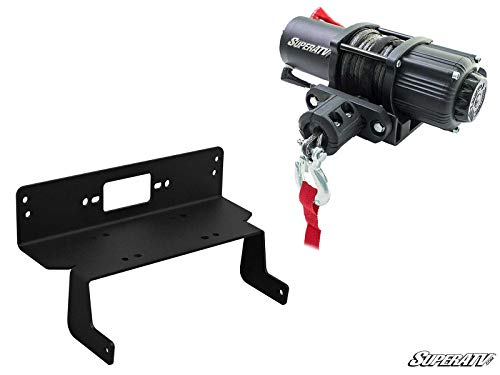 SuperATV 3500 lb Black Ops Winch with Heavy Duty Winch Mounting Plate for 2014+ Midsize Polaris Ranger 570/2014 Midsize 570 Ranger Crew   Complete kit ready for install!