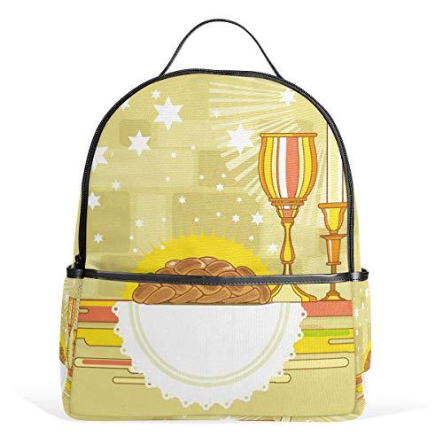 Happy Shabbat Challah Brot Schulranzen Rucksack Canvas Rucksack Große Kapazität Tasche Casual Reise Daypack für Kinder Mädchen Jungen Kinder Studenten