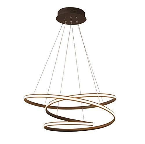 ring light 80 cm N/Z Home Equipment Modern LED Pendant Lights Metal Chandelier Height Adjustable 3 Rings Hanging Lamps Dimmable Chandelier for Bedroom Dining Restaurant Lights Brown 80cm