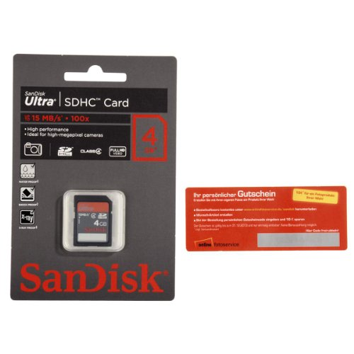 SanDisk SDHC Ultra 4 GB Speicherkarte und 10 Euro Gutschein für Online-Fotoservice - exklusiv bei Amazon.de