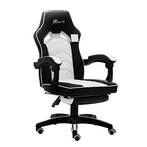 JR Knight Gaming Stuhl Racing Stuhl Bürostuhl Ergonomischer Gamer Stuhl Chefsessel mit Fußstütze Höheverstellbarer Schreibtischstuhl PC Stuhl hohe Rückenlehne Büro Computerstuhl aus Kunstleder Weiß