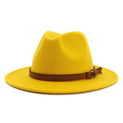HUDANHUWEI Unisex Wide Brim Felt Fedora Hats Men Women Panama Trilby Hat with Band (Yellow, M (Head Circumference 22'-22.8'))