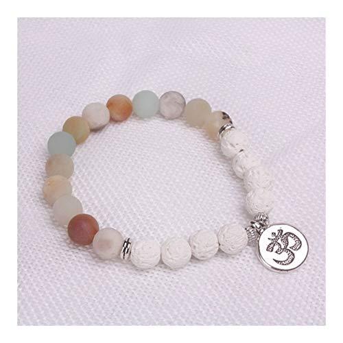 ZAOPP Blancos Lava Piedras Y Helada Mate Encanto de los Granos de Buda Lotus Yoga Pulsera Accesorios (Metal Color : OM)