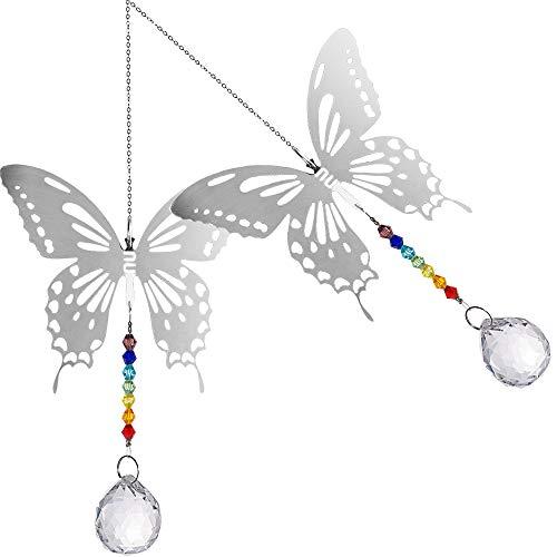 Mariposa Bola Colgante, 2 Piezas Bola de Crista con Mariposa, Colgantes Cristal Lampara Prisma, Hecho a Mano Arcoiris Cristal para Cortina Ventana Techo para Decoración en Hogar, Bodas y Fiestas