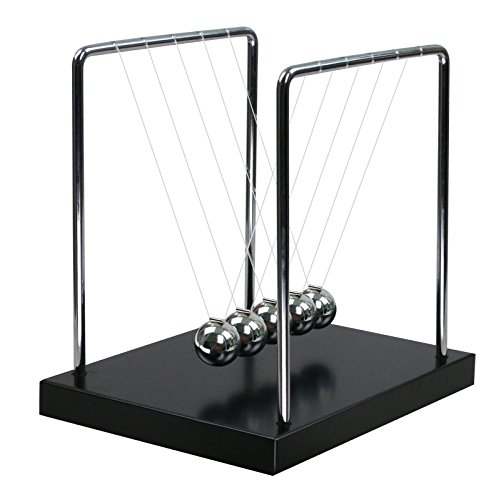 Classic Newtons Cradle Balance Balls with Medium Black Wooden Base Desk Toys Science Physics Learning Toy Fun Gadget Pendulum for Office and Home Decoration