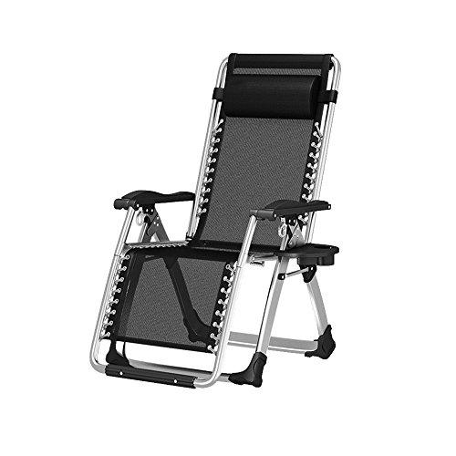 Chair Zhaizhen Chaise longue à bascule pliable inclinable pour balcon ou cour extérieur (couleur : noir)