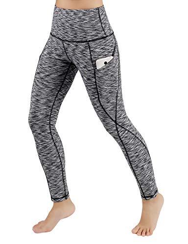 ODODOS High Waist Out Pocket Yoga Pants Tummy Control Workout Running 4 Way Stretch Yoga Leggings,SpaceDyeBlack,Medium