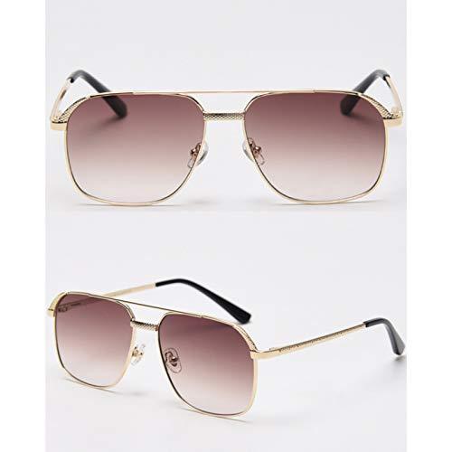 SXRAI Gafas de Sol con Montura Grande para Hombre, Espejo, Azul, Rojo, para Mujer, Gafas rectangulares para Hombre, Montura Completa de Metal,C2