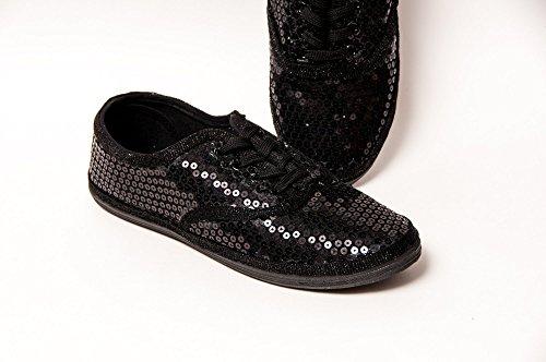 Women's All Black Monochrome Sequin Canvas Oxford Sneakers