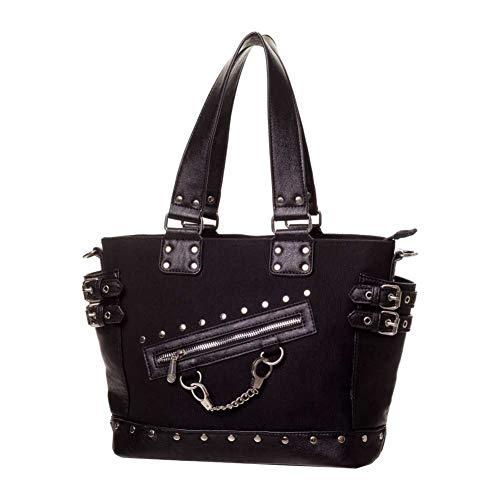 Damen Banned Handtasche Umhängetasche Vintage Rockabilly Schultertasche Shopper Punk Gotik Handtasche Schwarz Tasche (10287)