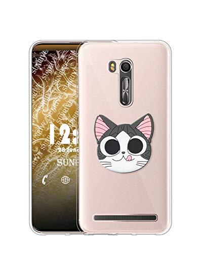 Sunrive Kompatibel mit Asus Zenfone Go ZB551KL Hülle Silikon, Ständer Fingerhalter Fingerhalterung Handyhülle Transparent Schutzhülle Etui Hülle (Katze) MEHRWEG