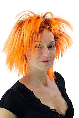 WIG ME UP Perruque Noire/Orange, Style Punk, 80's, Glamour, idéal pour Carneval PW0078-P103PC24(A422)