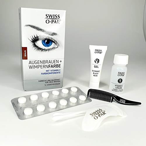 Augenbrauen- und Wimpern-Farbe Set, komplettes Färbesystem mit allem Zubehör für 10-12 Behandlungen, intensive Tönung für Wochen, einfach in der Anwendung (Braun)