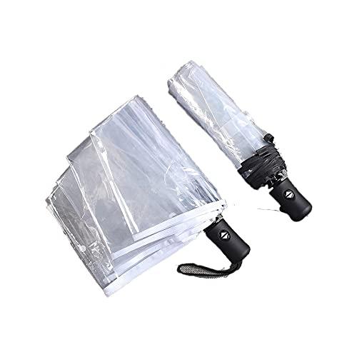 YHD Paraguas Plegable Transparente, Paraguas Transparente Plegable automático,Paraguas portátil de Moda Transparente automático automático Tres Pliegues Paraguas de Lluvia Plegable para Exteriores