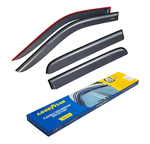 Goodyear Shatterproof Side Window Deflectors for Trucks Dodge RAM 2009-2018 Crew Cab, Mega Cab, Tape-on Rain Guards, Vent Window Visors, 4 Pieces  GY003106