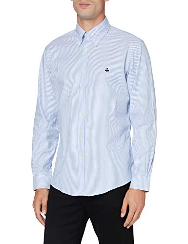 Brooks Brothers Herren SPT Ml NI Stretch Pinpoint Solid Regent Freizeithemd, Blau (Stripe 400), Medium (Herstellergröße: M -)