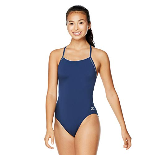 Speedo Women's Swimsuit One Piece Endurance+ Skimpy Thin Strap Solid, Speedo Navy, 34