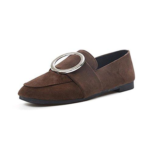 Liquidación! Pisos de mujer Covermason Señoras cómodas Zapatos de gamuza con hebilla Soft Slip-On Casual Zapatos solteros(38 EU, marrón)