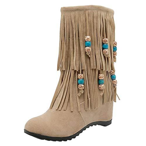 Rosennie Damen Stiefel Wildleder Stiefel Lange Winter Hohe Stiefel Frauen Mode Bestickte Quaste Stiefel High Heels Kurzschaft Stiefel Casual Boots Stiefel Winterstiefel