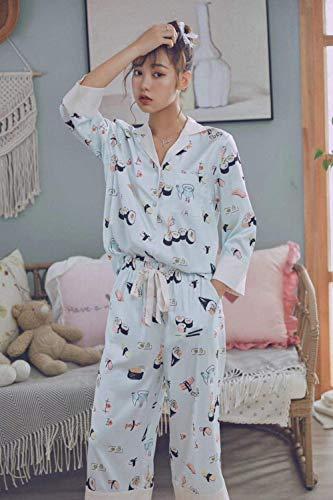 Pijamas de Las Mujeres de la Ropa Interior Ropa de Dormir Ropa de Dormir Negligees Ladies' Home Ropa Sushi impresión de la Manga de Las Mujeres de la Solapa Juguetón Pijamas Pijama pantalón de Pijama