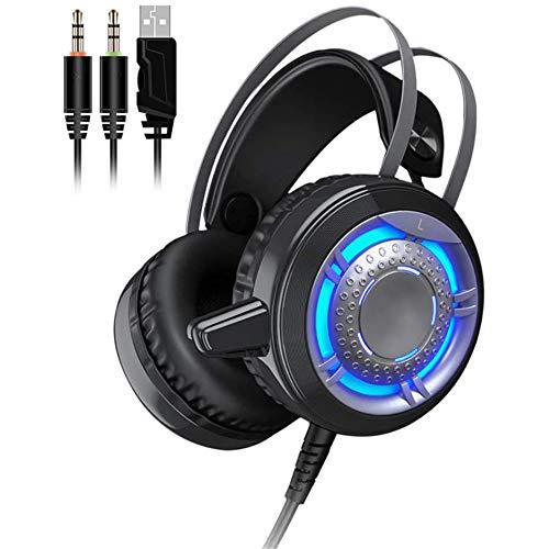 TAOXUE Auriculares Gaming PS4 con Microfono Cascos Estéreo 3.5Mm Jack, Luz LED, Volumen Control, Compatible con PS4 PC Ordenador Y Móvil