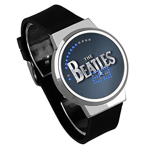 Armbanduhren,Touchscreen LED Uhr Silikonarmband Wasserdicht Leuchtende Elektronische Uhr Die Beatles Rockband Um Silver Shell Black Belt