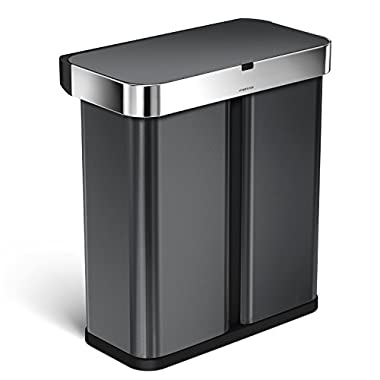 simplehuman 58 Liter/15.3 Gallon Stainless Steel Touch-Free Dual Compartment Rectangular Kitchen Trash Can Recycler Motion Sensor, Voice Activated, Black Stainless Steel