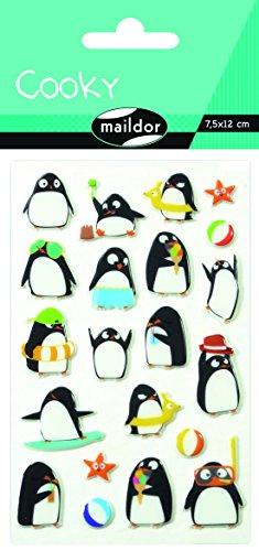 Maildor CY062O Packung mit Stickers Cooky 3D (1 Bogen, 7,5 x 12 cm, ideal zum Dekorieren, Sammeln oder Verschenken, Pinguin) 1 Pack