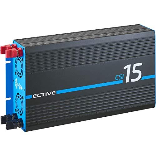 ECTIVE 1500W 12V zu 230V Reiner Sinus-Wechselrichter CSI 15 mit Batterie-Ladegerät, NVS- und USV-Funktion