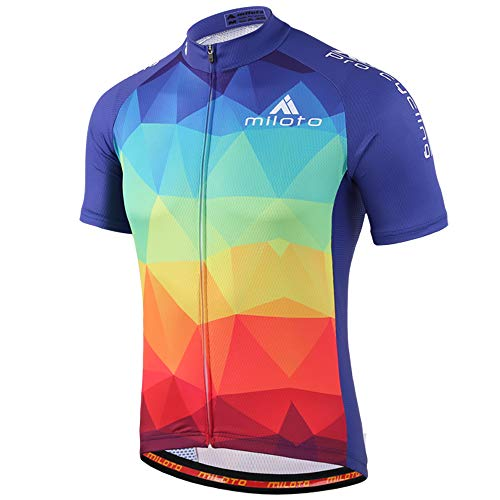MILOTO Hombre Maillot Ciclismo Manga Corta Ciclismo Reflectante Jersey (Multicolor, 5XL)