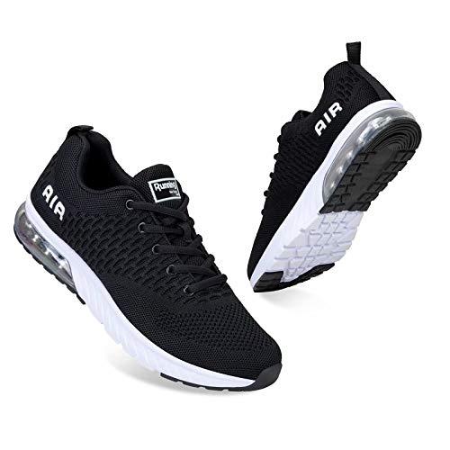 Mabove Laufschuhe Herren Damen Turnschuhe Sportschuhe Straßenlaufschuhe Sneaker Atmungsaktiv Trainer für Running Fitness Gym Outdoor(Schwarz/HK82,44 EU)