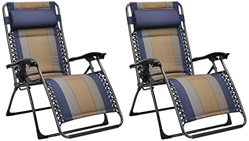 Amazon Basics - Set de 2 sillas acolchadas con gravedad cero - de color azul