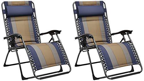 Amazon Basics - Set de 2 sillas acolchadas con gravedad cero - de color azul