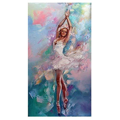 Gymqian Danza Abstracta Bailarina Lienzo Pintura Pared Arte Imagen Ballet Chica Carteles e Impresiones Sala de Estar decoración del hogar Mural 60x90cm sin Marco