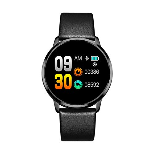 YNLRY Reloj inteligente OLED con pantalla a color para mujer, monitor de ritmo cardíaco (color: correa de cuero negra)