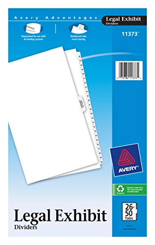 Avery Premium Collated Legal Exhibit Divider Set, Avery Style, 26-50 and Table of Contents, Side Tab, 14 x 8.5 inches, 1 Set (11373), White