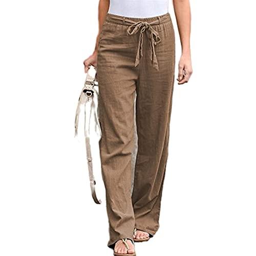 Ropa de mujer Cintura apretada Cinturón de lino de algodón sólido Pantalones de pierna ancha suelta, caqui, L