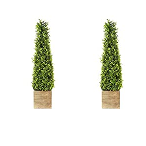"SN Decor Boxwood Topiary Trees Artificial Indoor Outdoor Decor 34"" Boxwood Tower in Wooden Pot Set of 2 Topiary Bush Plant Boxwood Green Potted Topiary – New"