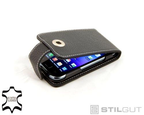 StilGut UltraSim, Funda de Cuero con botón para el Original Samsung Galaxy...