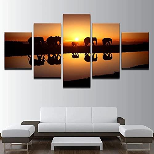 HGFDS Cuadros Paneles Lienzo murales Impresión 5 Piezas Material TejidonoTejido África Elefante Atardecer Río Impresión Artística Imagen GráficaDecoracion ParedWall StickerPaintings