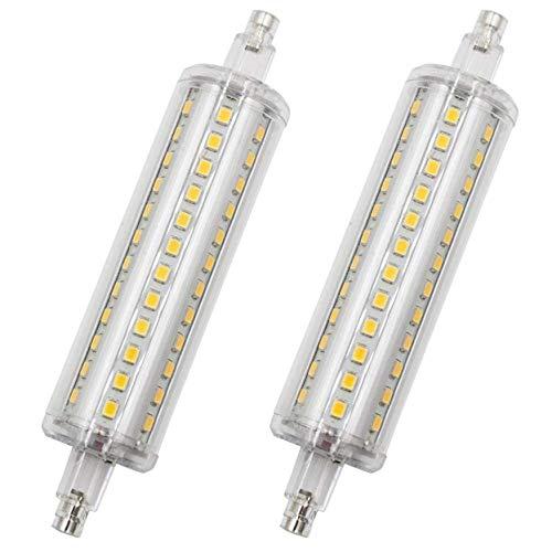 SODIAL Paquete de 2 R7S LED de 118 Mm, 9W Regulable 70W LáMpara de HalóGeno de Repuesto, 800Lm Blanco CáLido 3000K...