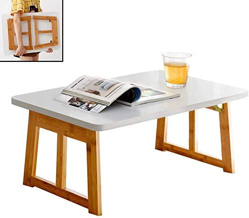 Soporte portátil de bambú para computadora portátil,Mesa de regazo multifuncional Mesa Desayuno Cama Bandeja Soporte con patas plegables Fuerte carga de carga sólida para comer, leer, trabajar,60cm