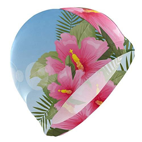 Gorro de natación para hombre, diseño de flores polinesias y plantas tropicales