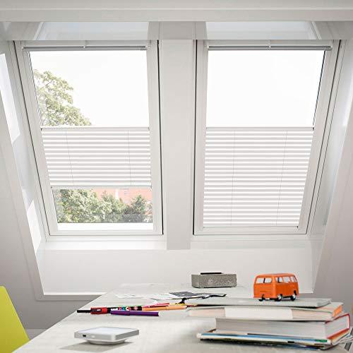 Original Velux Faltstores Plissee für VL, VU, VKU Y45 / Stofffarbe 1016 / Uni Weiß, Schienenfarbe silber // FHL Y45 1016S