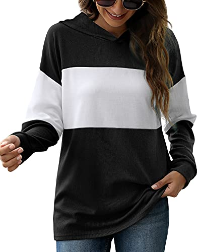 Aloodor Women's Hoodie Color Block Tunic Sweatshirts for Summer Black XL