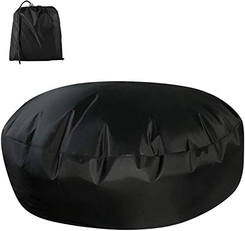 Garden Furniture Covers Round, Rattan Daybed Cover Waterproof Dustproof Patio Furniture Protective Cover with Storage Bag for Rattan Day Bed Sun Lounger (Black)