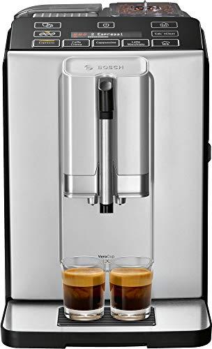 Bosch VeroCup 300 TIS30351DE Volautomatische espressomachine, 1300 watt, keramisch maalwerk, display, snelkeuzemogelijkheden, zilver